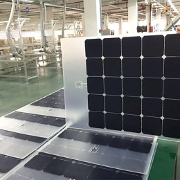 Transparent ETFE flexible solar panel for roof or windows