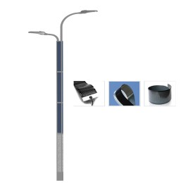 2FSG020 Solar steet Light Dual Arm with Flexible solar panel wrap on pole