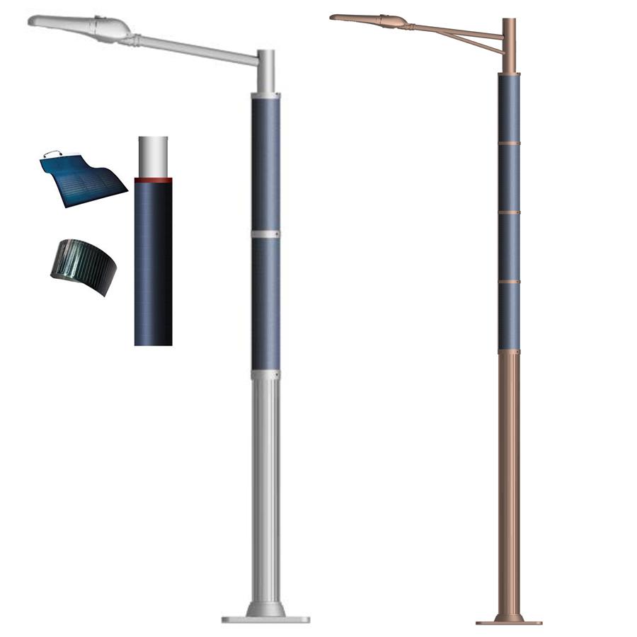 2FSG018 Solar Steet Light Wrap Flex Solar Panel on Round Pole