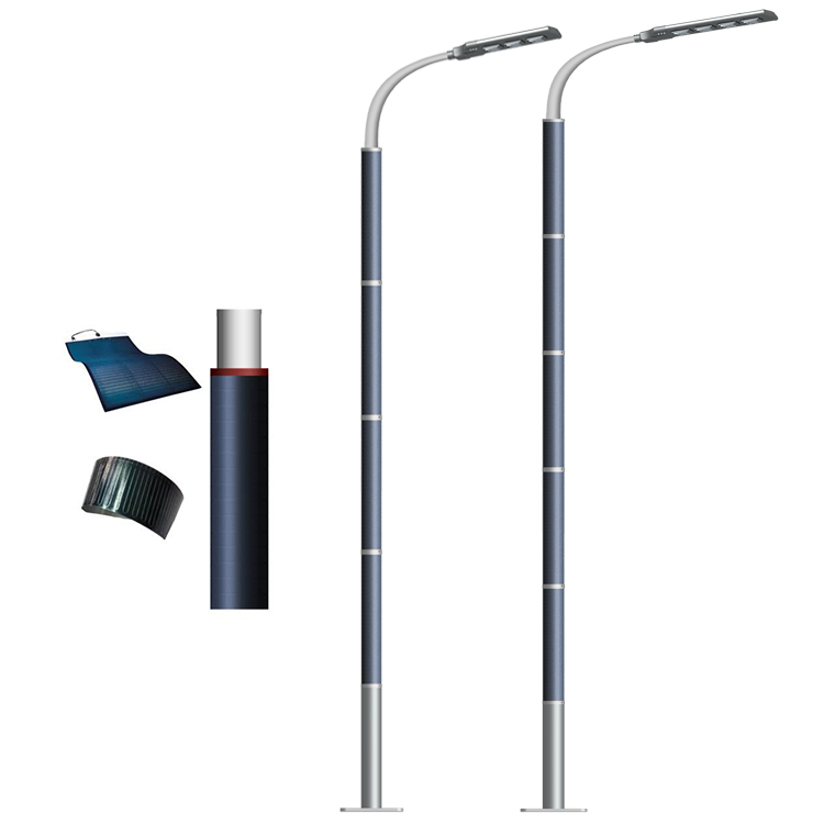 120W and 150W high power solar street wrap light with Flexible solar panel on pole