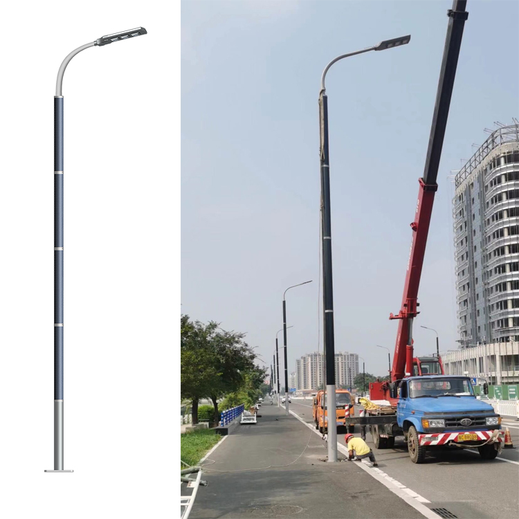 560pcs project of solar wrap pole with flexible solar panel on pole