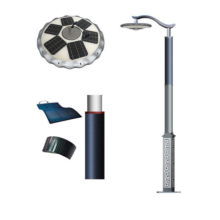 25-30W LED solar Lantern light with flexible solar panel wrapped on pole design 2FSG036